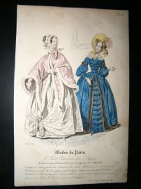 Petit courrier des dames 1837 Antique Hand Col Fashion Print. #1319